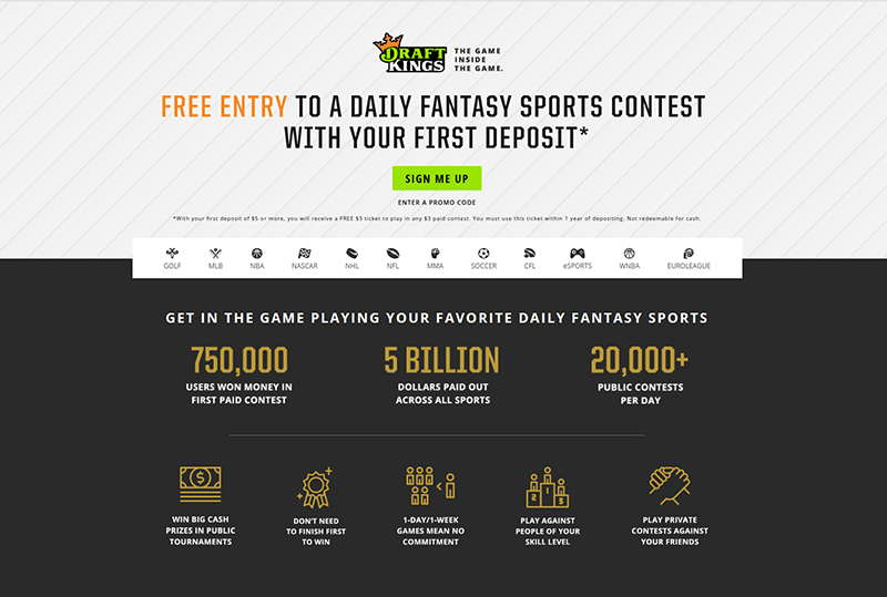 DraftKings daily fantasy sports software provider's website